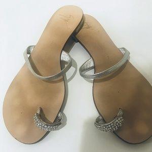 Giuseppe Zanotti Crystal-Embellished Silver Sandal